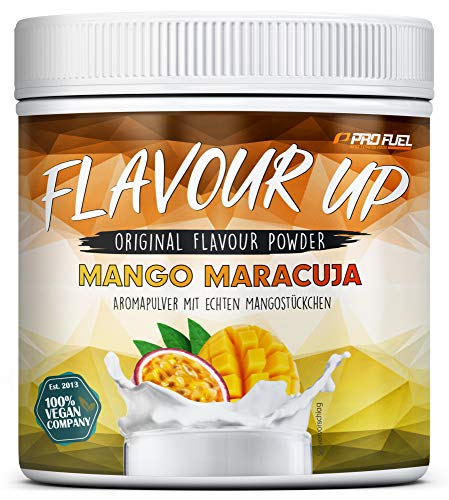 FLAVOUR UP | Geschmackspulver mit Mango Maracuja Flavour | nur 10 kcal pro Portion | Leckerer Geschmack und Süße | Für Lebensmittel und Getränke | 280g Flavour Powder | Made in Germany | ProFuel