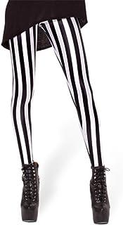 Damen Vertikal Gestreift Elastischer Bund Damen Muster Lange Leggings