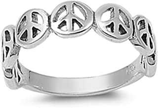 Oxidized Peace Sign Stackable Beautiful Ring 925 Sterling Silver Band Sizes 4-11
