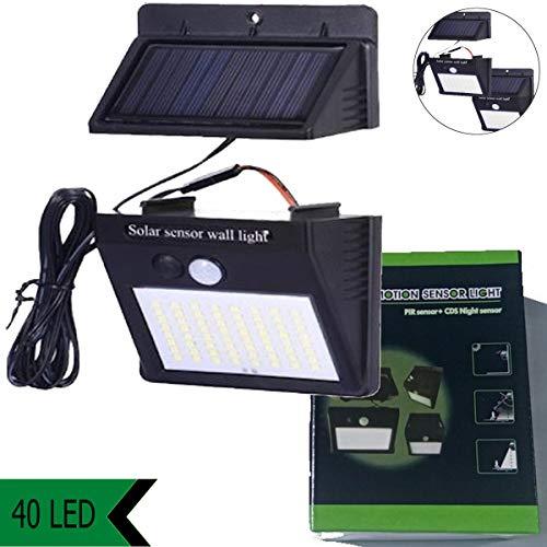 Luz solar exterior 40 LED, sensor de movimiento, panel solar separado, desmontable,...