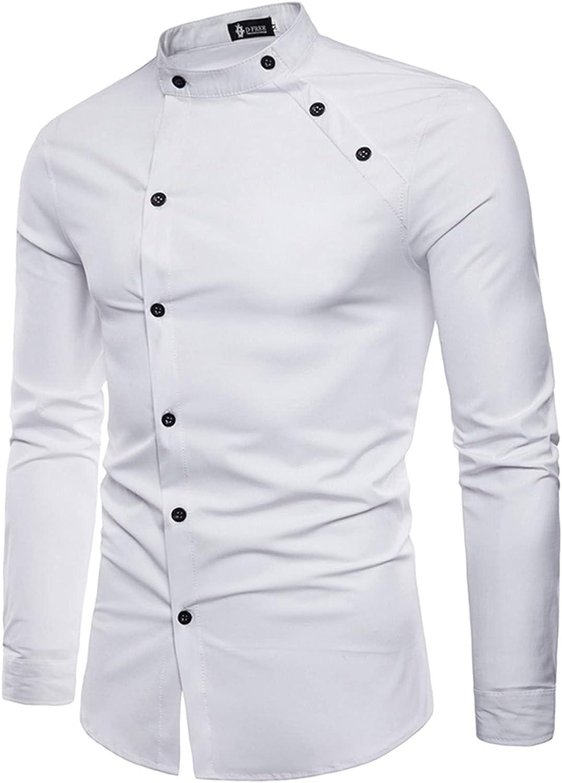 Mens Slim Fit Dress Shirt Long Sleeve Button Down Business Shirt Tailoring Double Placket Wedding Work Tops