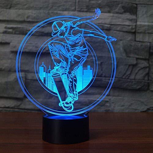Nachtkastje Decor Sleep 3D LED skateboard boy tafellamp gebouw nachtlamp 7 kleuren voor extreme sport verlichting planken kinderen