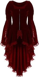 Aniywn Plus Size Women Steampunk Blazer Coat Jacket with Lace Hem Retro Zipper Tuxedo Gothic Jacket