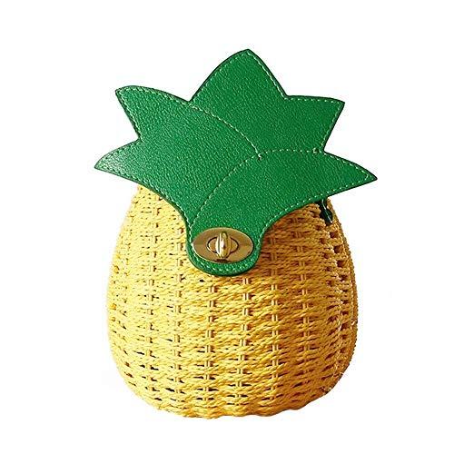 Alvnd Mode schöne Fruchtform Kleiner Mappe Straw Taschen, Schultertasche Messenger Bag Freizeit Strandurlaub Einkaufstasche (Color : Khaki, Size : 17 * 19cm)
