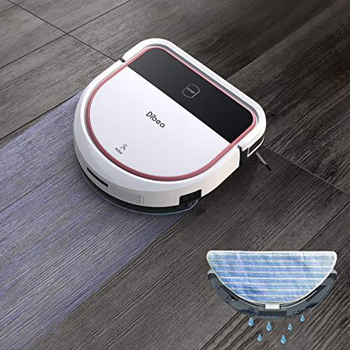 Dibea Saugroboter mit Wischfunktion Staubsauger Roboter Saugen Wischen Gleichzeitig 3 Saugstufen 110 Minuten 7.5 cm Flach Hartböden Automatische Aufladung D500 Pro Weiß - 5