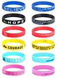 SAILIMUE 12 Pcs Inspirational Silicone Rubber Bracelets for Men Women Wristbands Positive Energy with Motivational Saying Bracelets Set Sports Wristbands