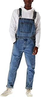 HaiDean Men's Pants Dark Blue Modern Dungarees Denim Overall Length Casual Jeans Retro Suspenders Jean Dungarees Skinny Fi...