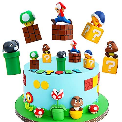 BESTZY Tortenfiguren Geburtstag, 10 pcs Mario Kuchen Dekoration für Geburtstags Party liefert Cupcake Figuren, Cake Topper, Party Kuchen Dekoration Lieferungen