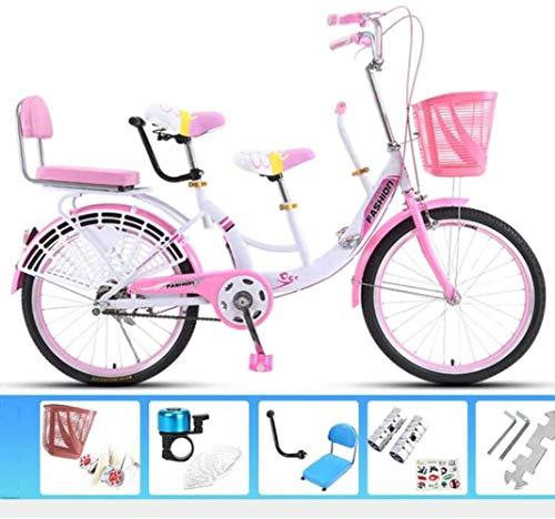 Wandbild Outdoor Sports Tandem-Fahrrad High Carbon Stahl Anti-Skid-Reifen Doppelscheibenbremse Eltern-Kinder-Bike Familie Interactive Reiten BMX Bike (Color : Pink, Size : 22 inches)