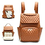 Leather Diaper Bag by miss fong,Diaper Bag Backpack, Baby Bag, Backpack Diaper Bags with Chaing Pad and Stroller Strap Diaper Bag Organizing Pouches(Diamond Brown)