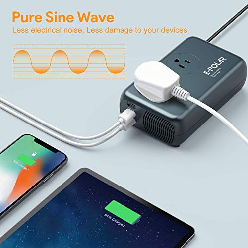 [Pure Sine Wave] 300W Power Inverter, E-POLAR DC 12V to AC 110V Car Inverter, Dual Smart USB A Ports, 60W USB-C Power Delivery Port for Laptops and iPhone Fast Charging Directly