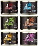 catz finefood Purrrr Monoprotein Katzenfutter nass Multipack, Känguru, Huhn, Lachs, Lamm, Schaf, Schwein Mix-Paket, 6 Dosen, 190 g-200 g