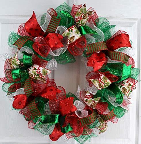 Christmas Wreaths | Red White Emerald Green Outdoor Mesh Front Door Wreath : C2
