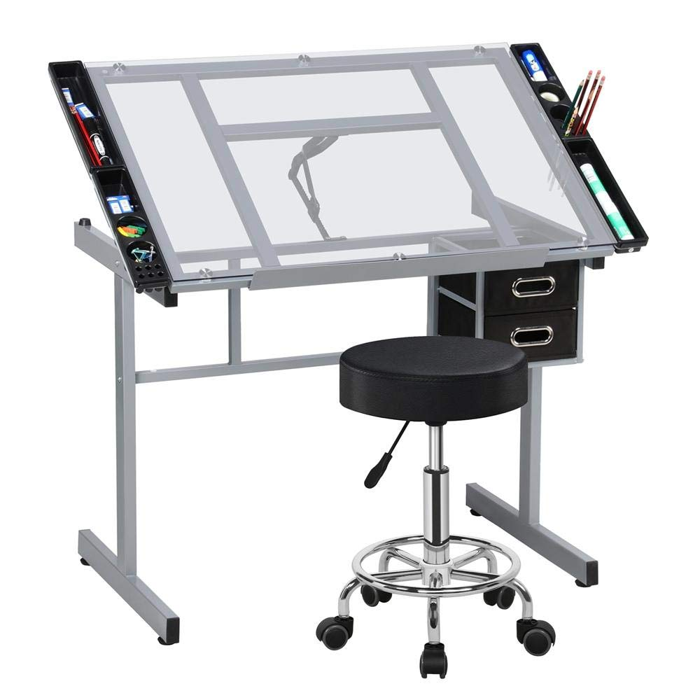 Yaheetech Drafting Drawing Station Tempered