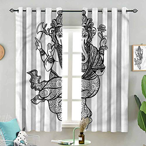 Light Blocking Dancing Sketch W72 x L63 Inch (2 Panels) Indoor Curtain for Living Room Bedroom