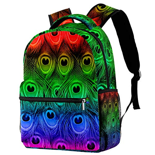 LORVIES Peacock Bird Feathers Large Backpack for Students School Bookbag