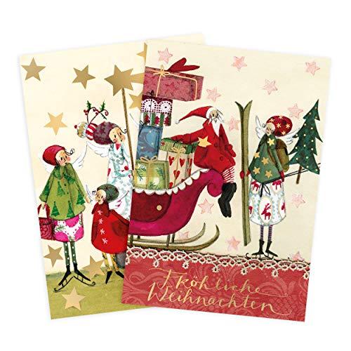 Juego de 2tarjetas de felicitación en Navidad, Ángel, estrella silueta, Papá Noel, trineo, neutral, niño, niña, en blanco, tarjeta de Navidad, DIN A6