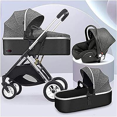 Sistema de viaje Anti-Shock Luxury Baby Stroller 3 en 1, alto paisaje convertible Bassinet al cochecito para niños pequeños, arnés de seguridad de 5 puntos y canasta de almacenamiento grande, múltiple