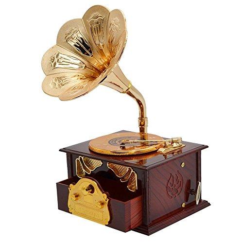 Fding Klassische Trompetenhorn-Plattenspieler, Grammophon-Kunst, Spieluhr & Schminkkoffer & Schmuckbox, Heimdekoration (braun)