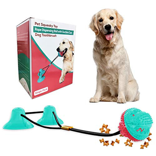 Dog Chew Toys for Aggressive Chewers, Squeaky Dog Rope Toys with Double Suction Cup& Teeth Cleaning and Food Dispensing Features, Interactive Dog Rope Toys for Puppy Small Large Dogs