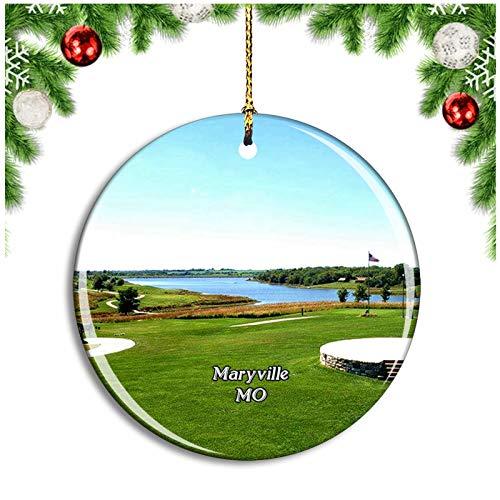 Weekino Maryville Mozingo Lake Park Missouri USA Christmas Ornament Xmas Tree Decoration Hanging Pendant Travel Souvenir Collection Double Sided Porcelain 2.85 Inch