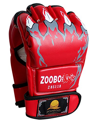 ZooBoo Half Finger Boxing Gloves MMA Training Sparring Grappling Fight Punch Ultimate Mitts Leather - Red Claw