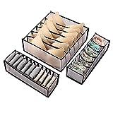 Organizador de cajones para ropa interior, 3 juegos de cajas de almacenamiento plegables para armario, cajones para ropa interior, sujetadores y calcetines, o bolsas de almacenamiento de armario