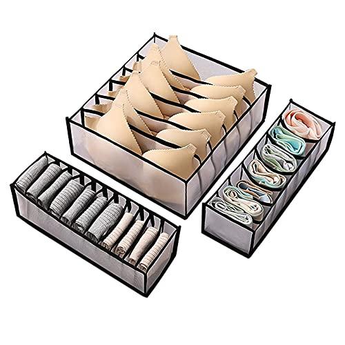 Organizador de cajones para ropa interior, 3 juegos de cajas de almacenamiento...