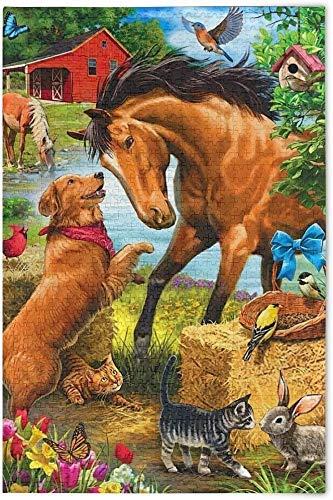 ggggx Rompecabezas de 1000 Piezas para Adultos, Adolescentes, Caballo, Perro, Animal, pájaro, Madera, Rompecabezas, Juego de Rompecabezas clásico, Gran Regalo, 52 * 38 cm