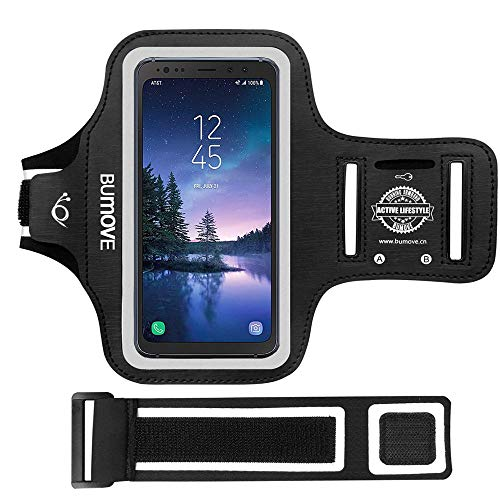Galaxy S8 Active/S7 Active Armband, BUMOVE Gym Running Workouts Sports Cell Phone Arm Band for Samsung Galaxy S8/S7 Active with Key/Card Holder (Black)