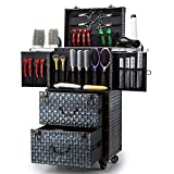 ASCASE Aluminum Rolling Makeup Train Case Hairdressing Trolley Salon Barber Cosmetic Luggage Box with Sliding Drawers,Brush Hair Dryer Holder(14.74×11.03×29.92 in), Blue