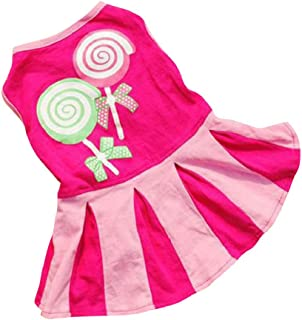 JHKUNOPetClothes Pet Sweater, Candy Pattern Dresses Vest Shirts Sundress Princess Clothes for Puppy Dogs Apparels