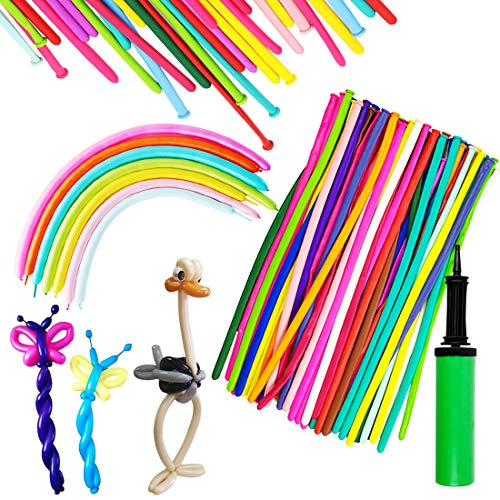 150PCS Latex Twisting Balloons, 260Q Assorted Color Magic Long Balloons with Pump for Animal Shape Party, Clowns, Wedding Decoration Party Supplies
