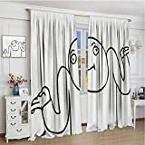 GUUVOR Humor Blackout Curtain Whatever Guy Meme Confusion Gesture Label Creative Drawing Rage Makers Design 2 Panel Sets W96 x L108 Inch Black and White