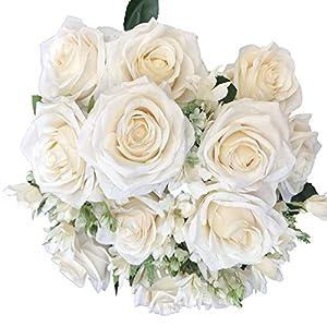 DALAMODA Artificial Open Rose Flower 2 Bundles Snowflake Cloth Rose Bush with 18 Stems (Ivory)