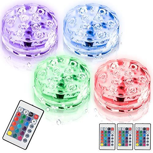 Hengda Unterwasser Licht, IP68 Wasserdichte LED Leuchten mit Fernbedienung RGB Multi Farbwechsel Lichter pool für Vase Base Party,Schwimmbad,Garten, Aquarium, Vase, Badewanne