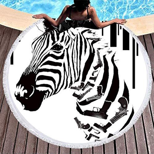 Aubrdon Toallas Redondas de Toalla de Playa - Toalla de Viaje de Rayas Negras Blancas Gun Zebra Terry 150cm