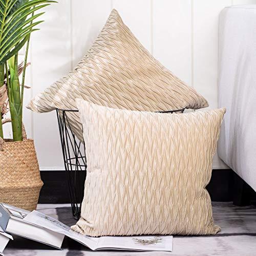 Madizz 2 Pezzi Federe in Velluto Morbido Decorativo Fodere per Cuscino Lusso Stile per Divano Camera da Letto Beige Quadrate 35x35 cm