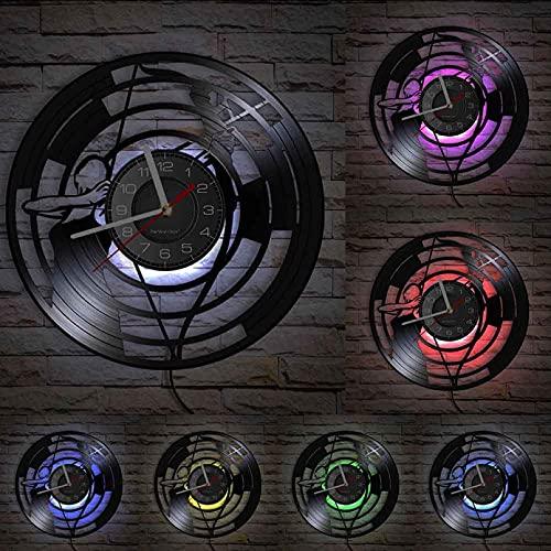 ZFANGY Reloj de Pared con Registro de Vinilo con temática de Tiro con Arco, Reloj de Pared Deportivo, decoración iluminada Vintage, Que Brilla en la Oscuridad con Led