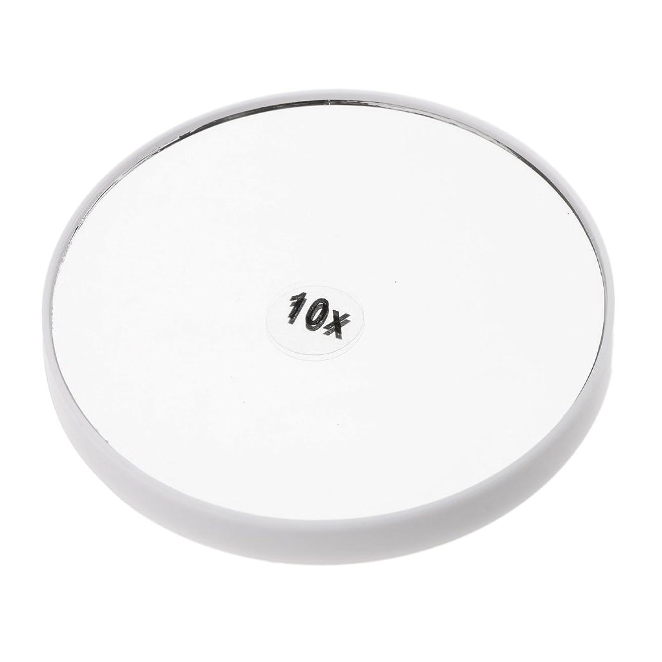 エスカレート学士移動するPerfk メイクアップミラー 化粧鏡 10倍拡大鏡 強力吸盤付き 円型 シンプルデザイン 耐久性 高品質 2色選べる - 白