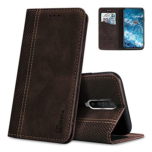 AKABEILA Hülle für Xiaomi Redmi K30 / Poco X2 Handyhülle Leder Flip Hülle Ständer PU Brieftasche Schutzhülle Klapphülle Tasche Hülle mit [Kartenfach] [Standfunktion] [Magnetisch]