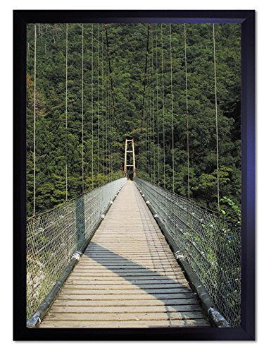 DX ポスター 安永新一 スリルある吊り橋・1 フレーム付き 黒 44cm×32cm 日本製 撥水 P-A3-PS-YSG-MG4VC2-bk