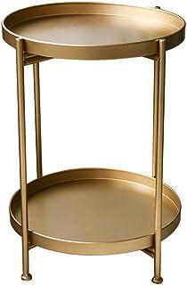 GXYGWJ Fer Petite Table Ronde Nordique Simple Double Petite Table Basse côté Coin Plusieurs Salon Mini canapé Rond Petite ...