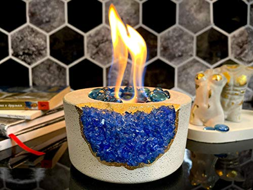 Tabletop Fireplace with Crystals | Indoor Rubbing Alcohol Fireplace Fire Bowl Fire Pit Outdoor Decor Portable Table Top Small Chiminea Meditation Bowl Geode Candle Holder Boho Décor Concrete Bowl Pot