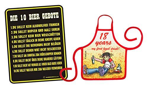 Mega-Shirt Geschenk Set zum 18. Geburtstag Blechschild mit Kleiner Schürze Set 10 Bier Gebote & 18 Years 32 Jahre 32 jähriger