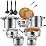 Duxtop 17PC Professional Stainless Steel Induction Cookware Set, Stainless Steel Ceramic Nonstick Pan Set, Impact-bonded Technology, FUSION Titanium Reinforced Ceramic Coating, Copper