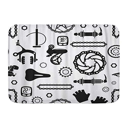 Fußmatten, Fahrrad Fahrräder Muster mit Teilen Rad Aluminium Bike Biking Schwarze Bremsmutter, Küchenboden Badteppich Matte Saugfähig Innen Badezimmer Dekor Fußmatte Rutschfest
