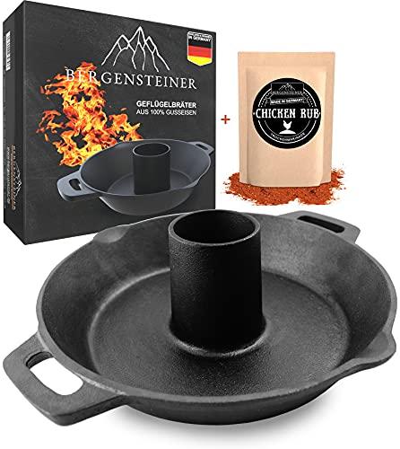 Bergensteiner Soporte para aves de hierro fundido 100 %, para asar aves de alta calidad, para colgar en la parrilla y el horno, incluye pollo.