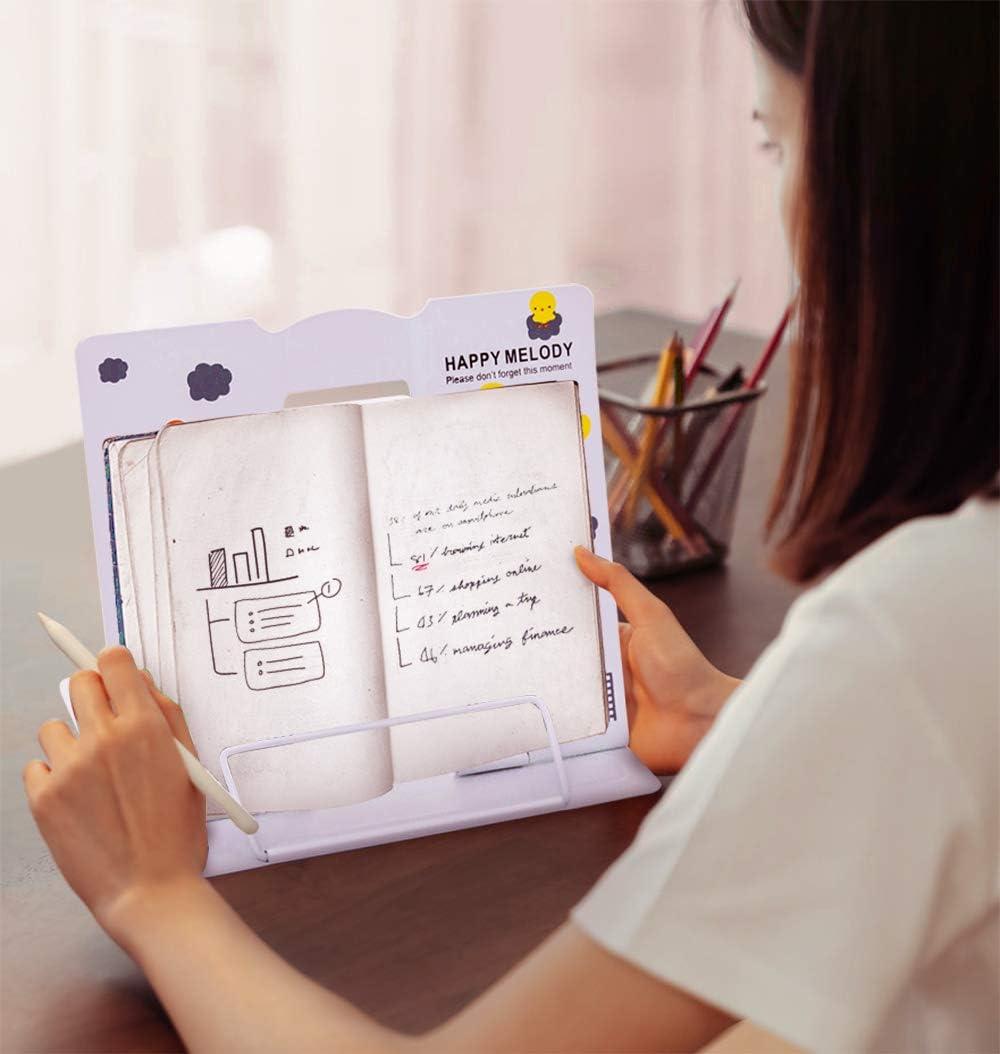 Scuola Pieghevole Porta Libri di Cucina con 6 Altezze Regolabil iPad Documenti per Casa Ufficio Leggio Libri per Leggere Bgfuni Supporto per Libri Metallo Metal Book Stand Manuale Rosa