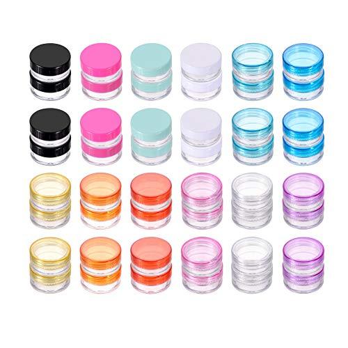 Haisiluo - Juego de 20 recipientes vacíos de plástico Transparente con Tapa para cremas, Almacenamiento de muestras, 3 y 5 Gramos